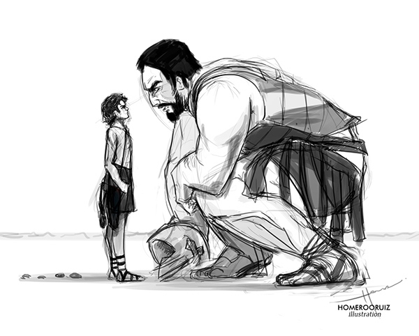 Illustration Sketch David And Goliath On Behance