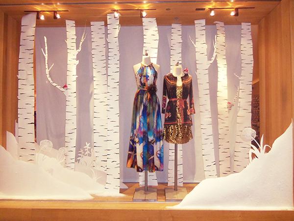 Winter Window Display- Paper birch trees