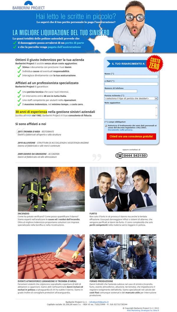 Web marketing landing page