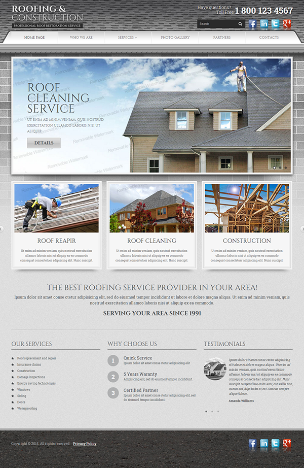 roofing and construction html template on behance