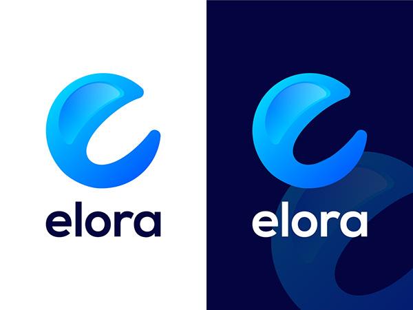 Modern E Letter Logo Elora Branding Design App Logo