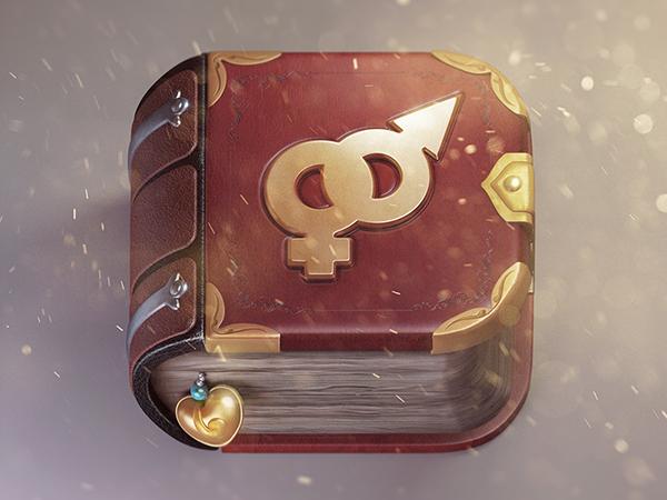 Icon ios app gold book Love sparkles