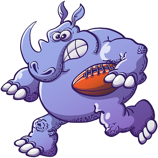 Strong rhinoceros running with a rugby ball and going for a touchdown