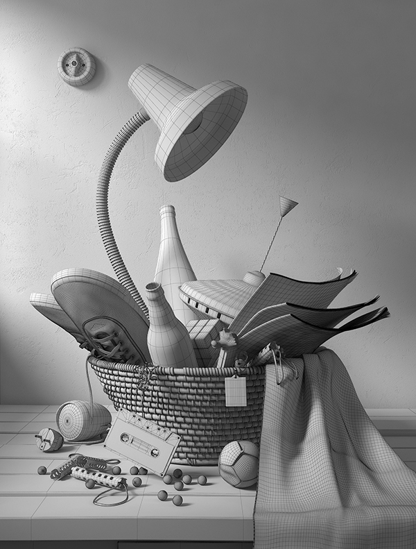 memories still life 3D Lamp basket