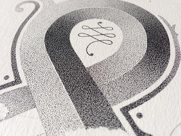 HAND LETTERING stippling wine Label shiraz bottle ampersand dots black and white