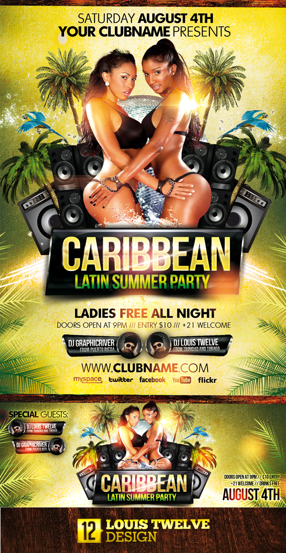 Free Latin Tarot Cards: FREE Caribbean Latin Summer Party + Flyer + Fb Cover On