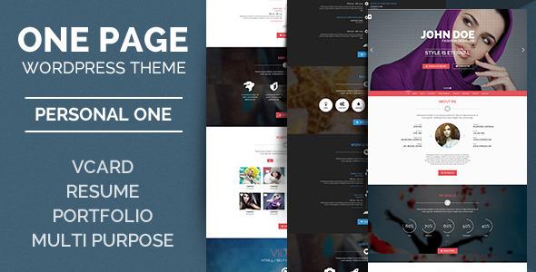 Personal One - OnePage / VCard / Wordpress Theme on Behance
