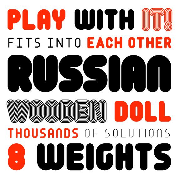 russian doll layering font geometric