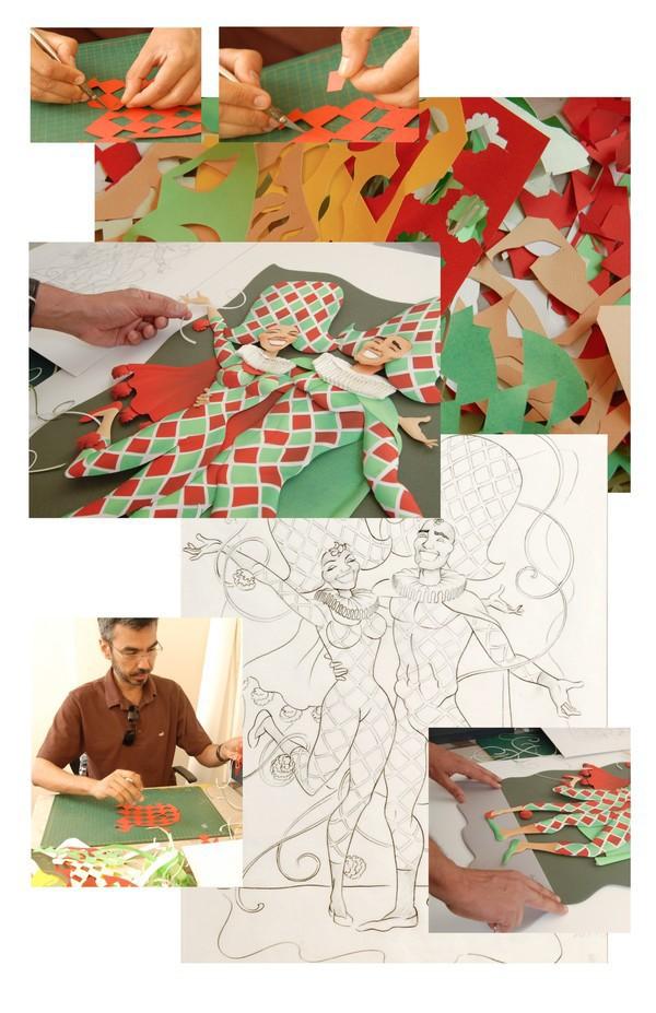 paper sculpture papercraft Paper cutting paper work Carnival paper