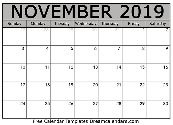 graphic about Printable Calendar November titled November 2019 Printable Calendar upon Pantone Canvas Gallery