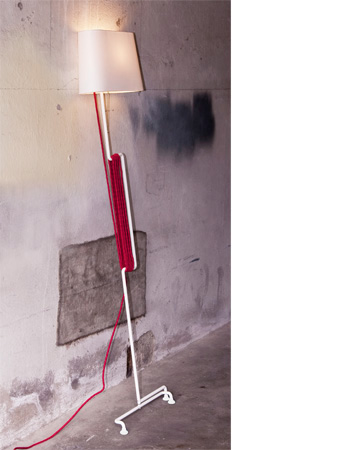 Lamp stan samuel treindl design lamp cotton lampshade White steel