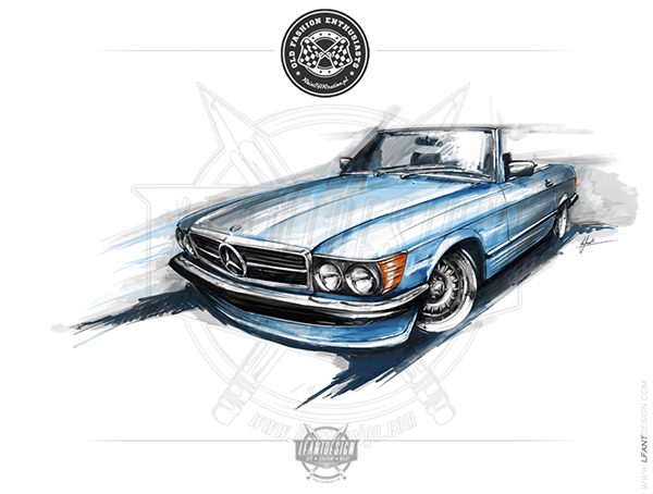Mercedes SL R107 poster on Behance