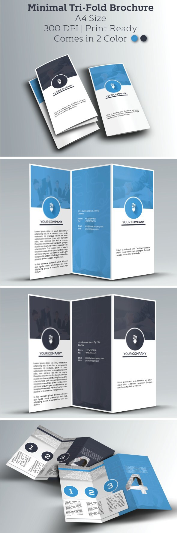 Simple Corporate Clean And Print Ready Tri Fold Brochure This Can Serve Multiple Purposes You Use To Represents Your Business