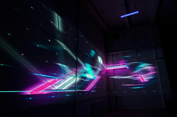 NAWER DANIEL DRUMZ Nike TEMPORARY SPACE DESIGN nike sportswear Mapping motion graphic Graffiti
