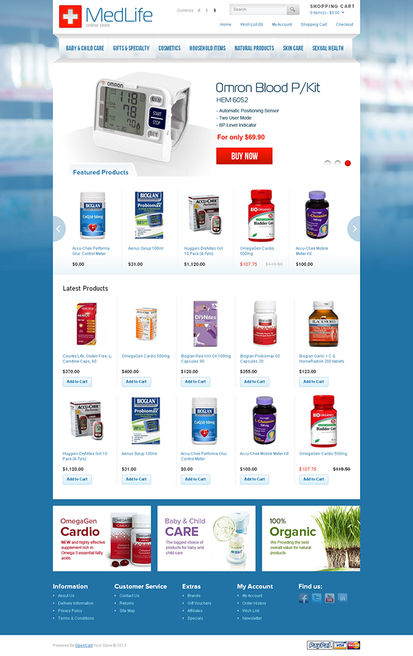 Medical Life Online Store OpenCart Theme on Behance