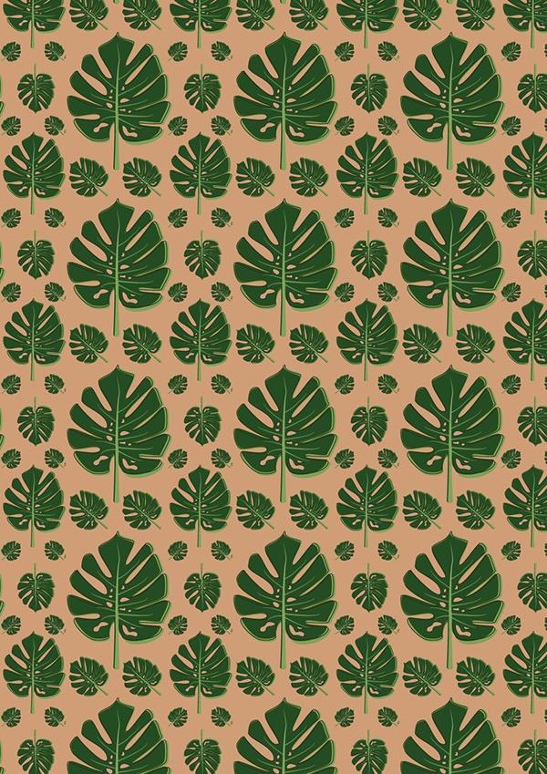 Monstera Leaf Surface Pattern Design