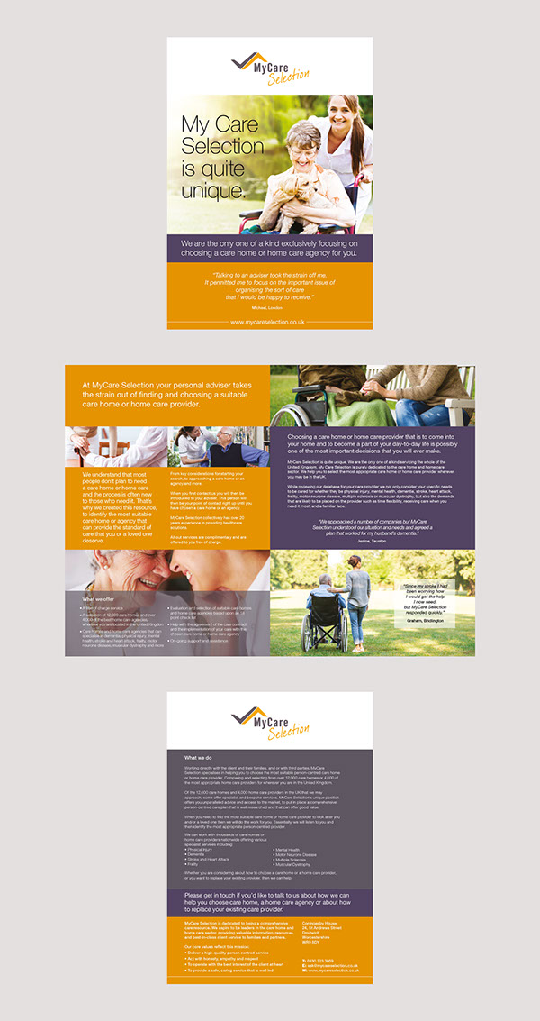 My Care Selection Brochure Design On Pantone Canvas Gallery