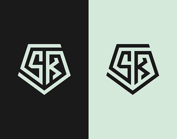 SK Monogram Logo - Initial Letter Logo