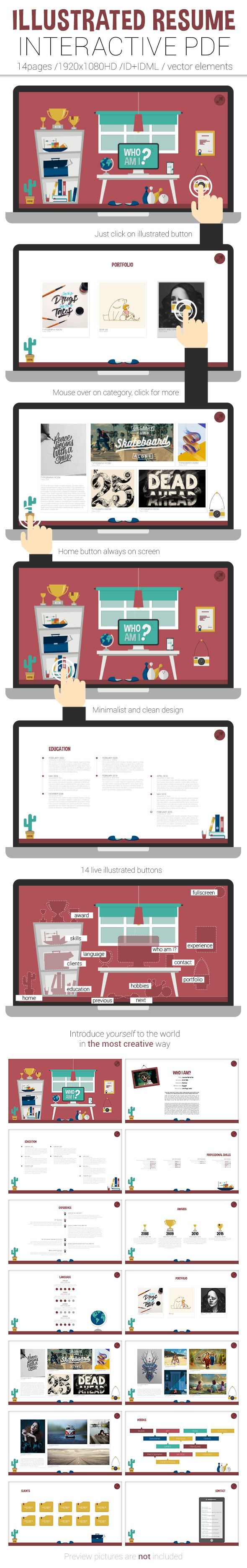 Sales Manager Resume Objective Pdf Illustrated Resume Interactive Pdf On Behance Resume Education Section with Pictures Of Resume Word  Linkedin Resume Examples Excel