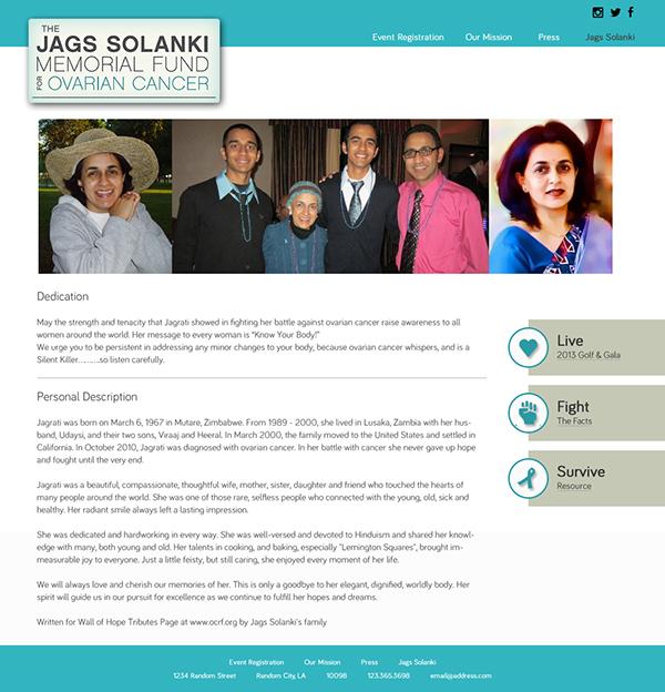 Jags Solanki Memorial Fund Ovarian Cancer On Behance