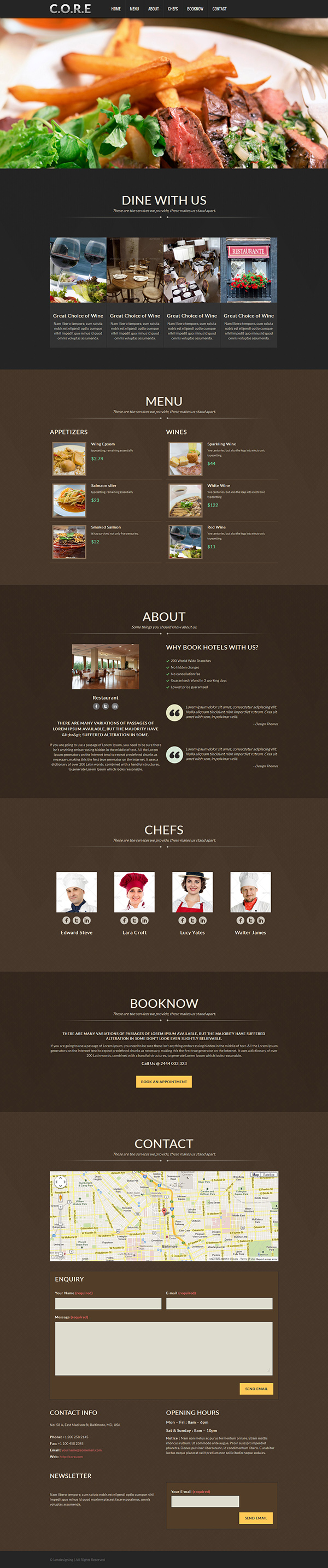 Core responsive one page wordpress theme on behance for Page 3 salon coimbatore
