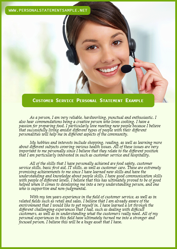 personal statement customer service Personal statement examples customer service jobs - cv, you have had a part descriptive writing 4th grade examples.