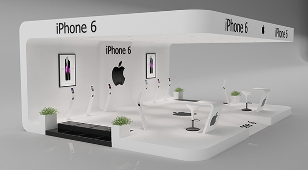 Exhibition Stand 3d Model Sketchup : Iphone exhibition stand made in d max and vray on behance