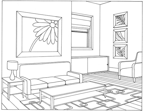 Portfolio on behance - One point perspective living room sketch ...