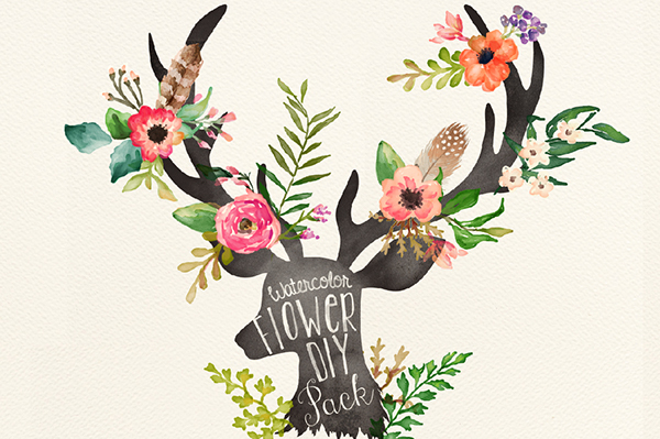 76 PNG300dpi Hand Drawn Watercolor Graphic ElementsEach Element On An Individual Png With Transparent Background Flowers Leaves Arrows Feathers