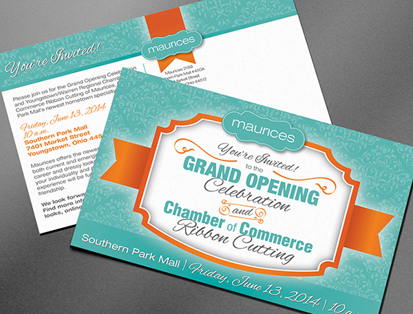 maurices grand opening postcard on behance
