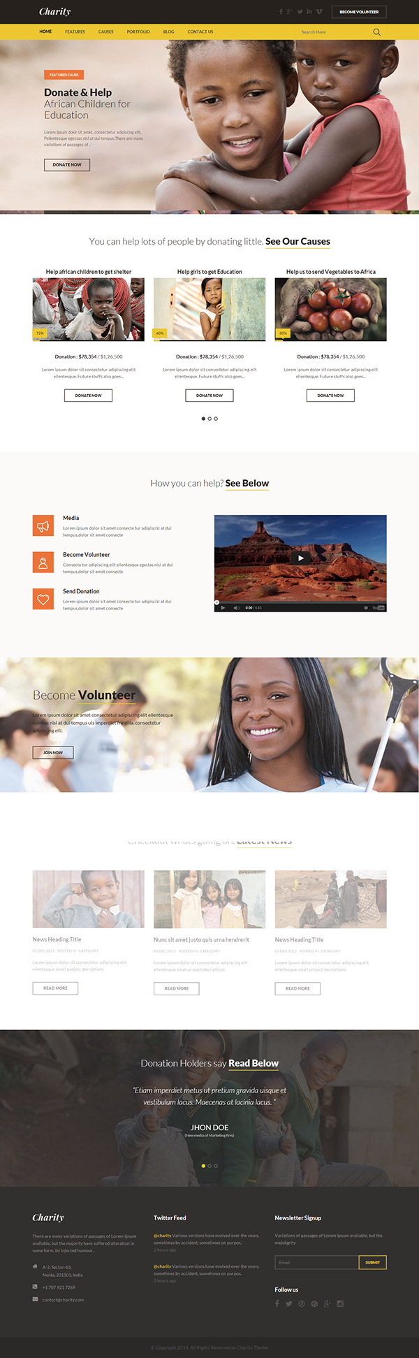 Charity   Nonprofit/NGO/Fundraising HTML Template On Behance  Ngo Templates