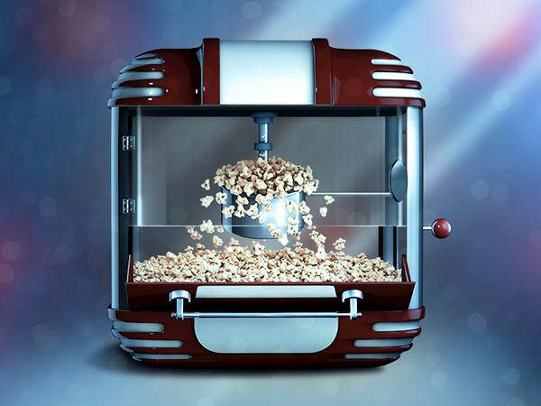 Icon  iOS popcorn machine reflections 3D Render model design