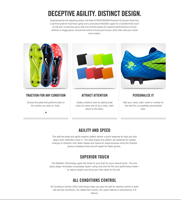 best service 2787a b3208 Marketing imagery and copy for the Hypervenom Phantom iD called out the  unique features of the NIKEiD version of this shoe. The bold color pallette  was part ...