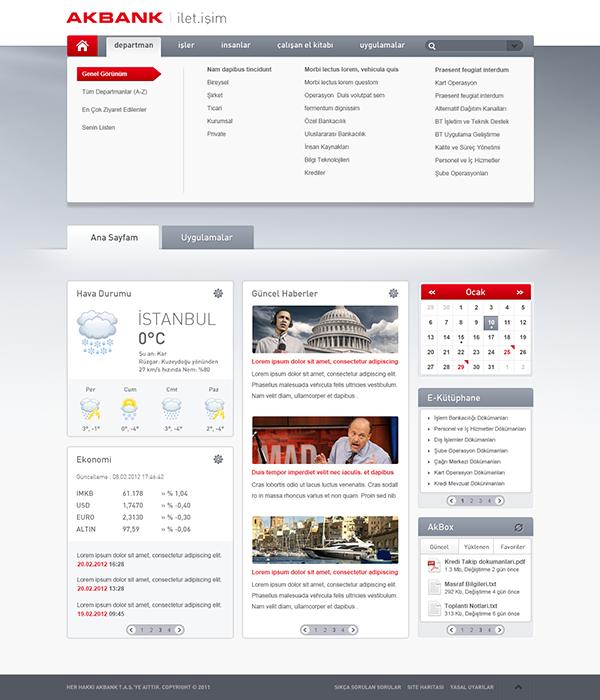 intranet portal design templates - akbank intranet on behance