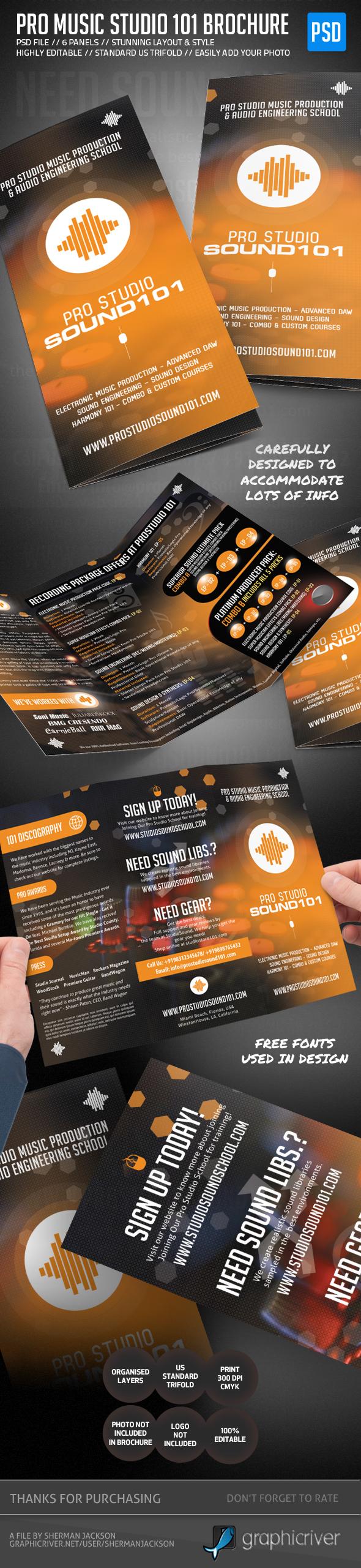 Pro Music Studio Trifold Brochure on Behance – Music Brochure