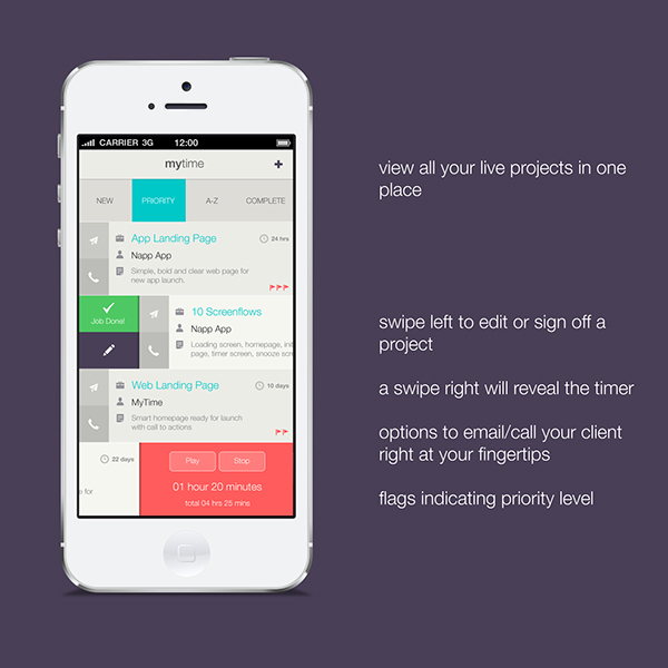 app UI ux Interface Icon iphone mac soft flat projects clients time tracker new interaction