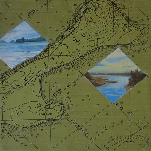 oil encaustic maps Landscape