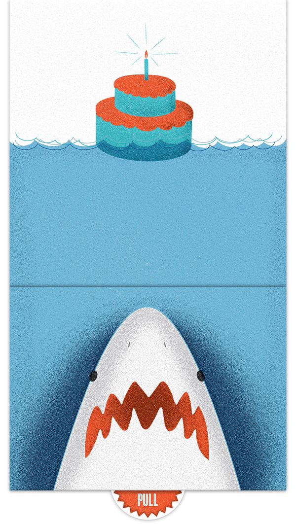 shark birthday card on behance, Birthday card