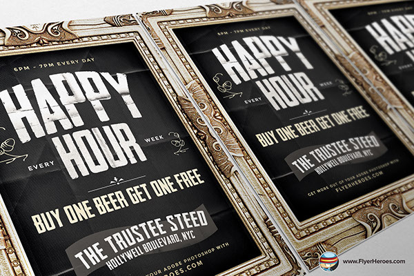 Framed Happy Hour Flyer Template On Behance