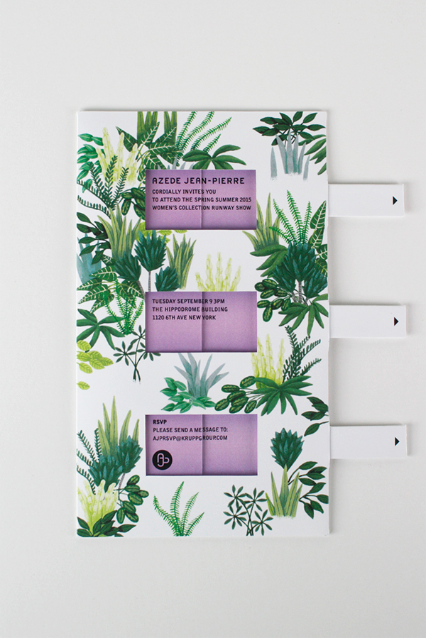 Flowers floral plants leaves garden green invite Invitation fashion week fashion show pull tab tab card Popup pop up