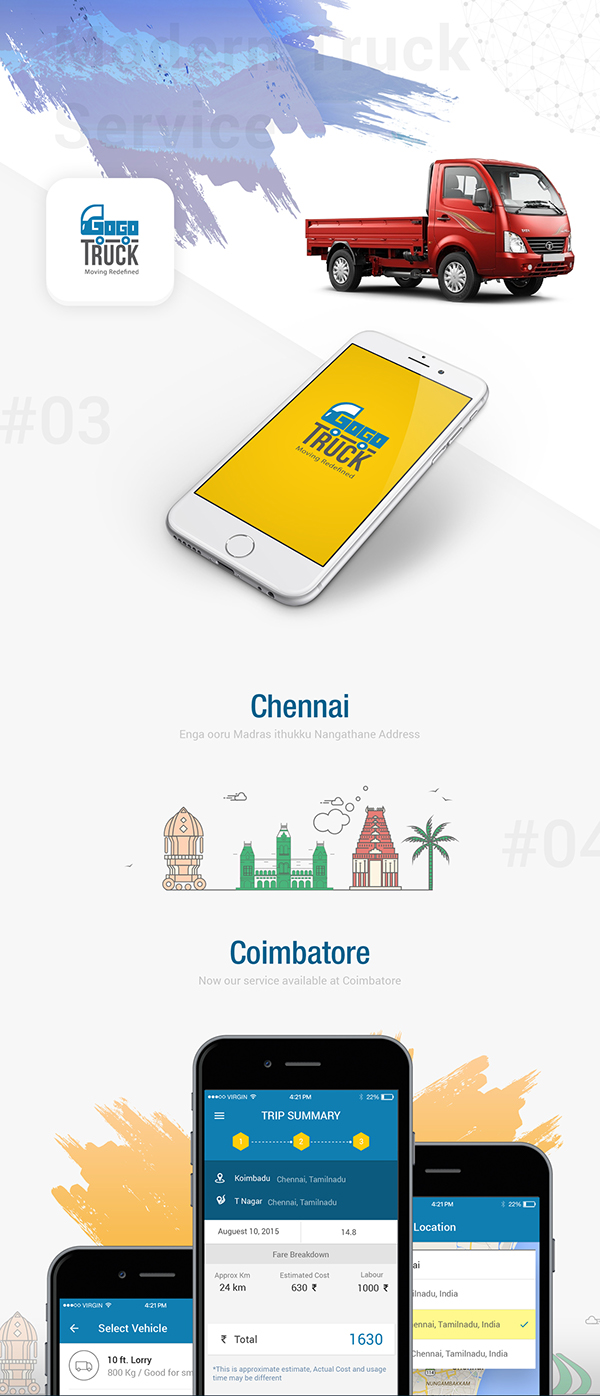Mobile app ui ux and web design for gogo truck on behance for Truck design app