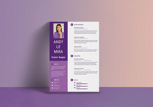 colorful resume template purple color sky inspired color palette download psd free