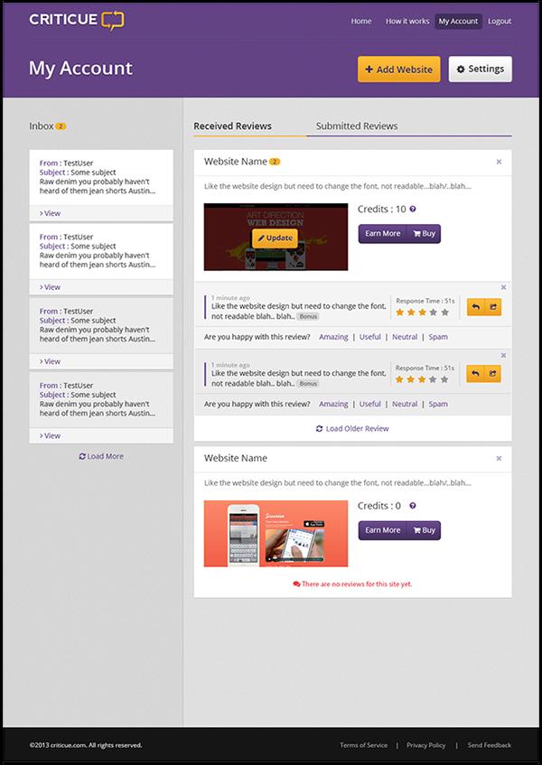 Peer Review landing page Website