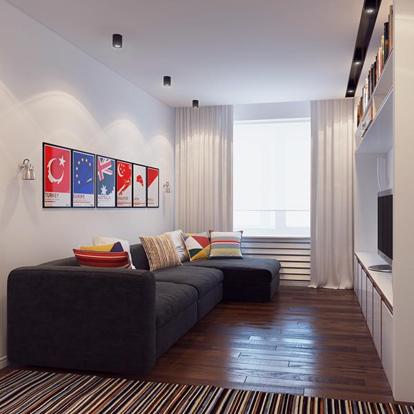 Дизайн однокомнатной квартиры 37 кв.м с планом