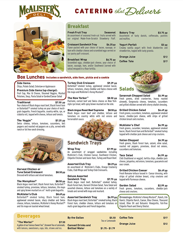 Adaptable image intended for mcalister's printable menu