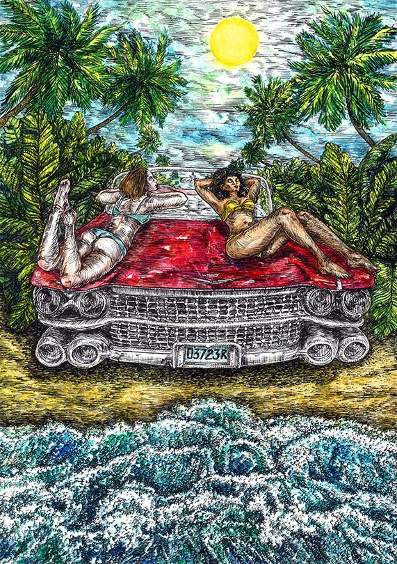 ink artwork beach grotesque car girls sexy summer ILLUSTRATION  watercolor