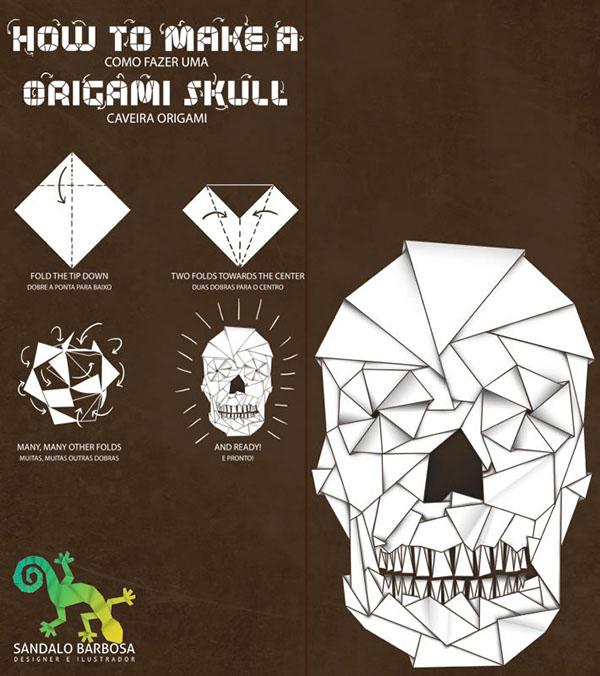 origami skull on behance
