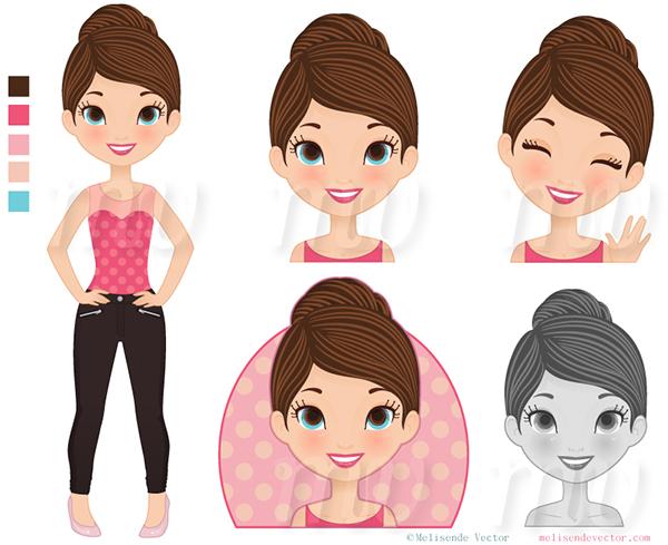 Cute Character Design Illustrator : Character design cute girl on behance