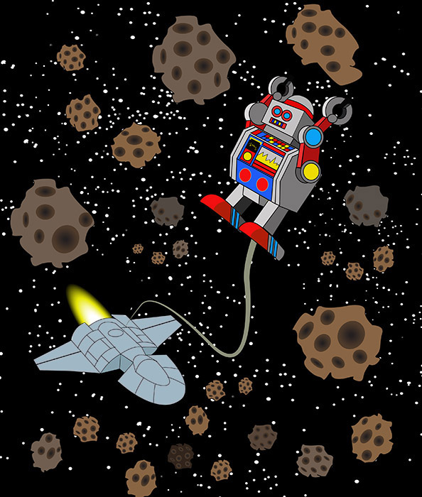 Mining robot in outer space on risd portfolios for Outer space project