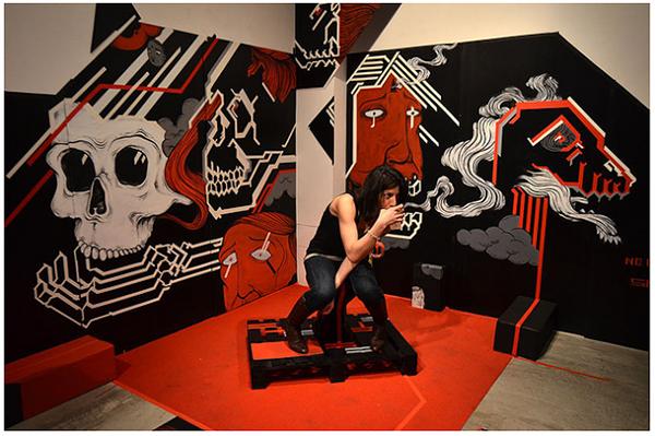 Performance face line color black red skull